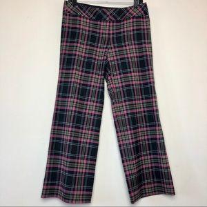 Trina Turk Plaid Pink Black Gray Cropped Pants 6